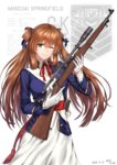 1girl baek_hyang bangs blush bolt_action breasts brown_hair collared_jacket collared_shirt cowboy_shot dated dress eyebrows_visible_through_hair girls_frontline gloves green_eyes gun hair_between_eyes hair_ribbon hair_rings highres holding holding_gun holding_weapon jacket large_breasts long_hair long_sleeves looking_at_viewer m1903_springfield m1903_springfield_(girls_frontline) military military_uniform neck_ribbon one_eye_closed open_mouth parted_lips ponytail red_ribbon ribbon rifle sash scope shirt sidelocks signature simple_background smile solo sword trigger_discipline uniform weapon white_background white_dress