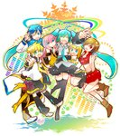 2boys 4girls 7:24 :d ;d ^_^ aqua_eyes black_skirt blue_hair blue_neckwear blush blush_stickers boots brown_eyes closed_eyes coat detached_sleeves eyebrows_visible_through_hair finger_to_mouth floating_hair full_body gradient gradient_background grey_shirt hair_ribbon happy hatsune_miku headset highres hug jumping kagamine_len kagamine_rin kaito long_hair looking_at_viewer megurine_luka meiko multicolored multicolored_background multiple_boys multiple_girls necktie one_eye_closed open_mouth pink_hair red_eyes red_skirt ribbon salute scarf shirt shorts simple_background skirt sleeveless sleeveless_shirt smile thighhighs thighs twintails upper_body v very_long_hair vocaloid white_background white_ribbon