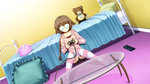 1girl :3 bed bed_sheet bedroom bedside bespectacled braid brown_hair brown_shirt choker closed_mouth cocoa_(phantom_breaker) controller dutch_angle expressionless eyebrows eyebrows_visible_through_hair frilled_pillow frills game_cg game_controller glass_table glasses holding indoors knees_together_feet_apart opaque_glasses phantom_breaker pillow pink_sweater playing_games red_shirt remote_control shirt shorts sitting sitting_on_floor solo striped striped_legwear stuffed_animal stuffed_toy suzuhira_hiro sweater table teddy_bear thighhighs