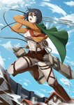 1girl black_eyes black_hair blue_sky boots breasts cape cloud coat commentary cropped_jacket green_cape highres house impossible_clothes impossible_shirt lens_flare medium_breasts mikasa_ackerman motion_lines pants red_scarf scarf shingeki_no_kyojin shirt sky solo stock-world three-dimensional_maneuver_gear wall