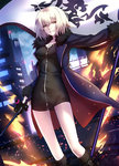 ahoge bangs belt_boots black_dress blonde_hair blue_coat boots breasts brown_footwear building coat dress eyebrows_visible_through_hair fate/grand_order fate_(series) flag fur_trim hair_between_eyes highres holding holding_sword holding_weapon jeanne_d'arc_(alter)_(fate) jeanne_d'arc_(fate)_(all) long_sleeves looking_at_viewer medium_breasts night open_clothes open_coat parted_lips shiguru skyscraper standing sword taut_clothes thighs weapon yellow_eyes