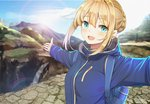 1girl aqua_eyes artoria_pendragon_(all) backpack bag blonde_hair blue_jacket blue_sky blurry braid cloud cobblestone commentary_request depth_of_field eyebrows_visible_through_hair fate/grand_order fate/stay_night fate_(series) french_braid hair_between_eyes hood hood_down hooded_jacket jacket kongbai lens_flare looking_at_viewer mountain open_mouth outstretched_arms rainbow saber scenery self_shot sidelocks sky solo spread_arms standing stone_walkway thermos upper_body upper_teeth vacation water waterfall