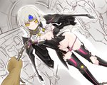 1girl arm_behind_back blush chain code:_nemesis_(elsword) coladaisuki crack elsword eve_(elsword) facial_mark forehead_jewel long_hair nipples one_breast_out panties panty_pull pink_panties restrained silver_hair torn_clothes underwear wings yellow_eyes
