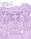 3girls ^_^ beret birthday_cake blush cake closed_eyes cravat food happy_birthday hat long_hair melty_blood multiple_girls ponytail riesbyfe_stridberg school_uniform sion_eltnam_atlasia sketch tsukihime twintails urako yumizuka_satsuki