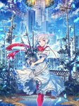 1girl :d bird building cable chain city cityscape cloud dress eyebrows_visible_through_hair frills halo highres open_mouth original outdoors pantyhose pole pond red_eyes red_legwear red_scarf scarf short_hair sky smile tree white_dress white_hair zounose