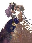 2girls black_hair blue_eyes bouquet bridal_gauntlets bridal_veil bride commentary_request dress eye_contact flower hair_flaps hair_flower hair_ornament highres jewelry jewelry_removed konno_junko lens_flare looking_at_another mizuno_ai multiple_girls natch necklace necklace_removed purple_flower red_eyes ribbon short_hair simple_background smile veil wedding_dress white_background white_flower white_hair wife_and_wife yuri zombie_land_saga