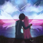 1998_kosinska 1boy 1girl black_hair cloud cloudy_sky commentary couple darling_in_the_franxx from_behind grass grey_shirt grey_shorts hand_on_another's_shoulder hetero hiro_(darling_in_the_franxx) holding_hands horns hug long_hair long_sleeves night night_sky ocean oni_horns pink_hair red_horns shirt short_hair shorts signature sitting sky sleeveless star star_(sky) starry_sky water wings zero_two_(darling_in_the_franxx)