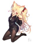 1girl akatsuki_yuni animal_ears bettle_(b_s_a_n) black_legwear black_shirt blonde_hair cat_ears fangs feet hair_ornament highres kneeling long_hair open_mouth pantyhose shirt simple_background solo two_side_up uni_channel virtual_youtuber white_background zipper_pull_tab