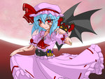 1girl artist ascot belt biting blue_hair bonnet crossover dress henshin henshin_pose kamen_rider kamen_rider_dark_kiva kamen_rider_kiva_(series) kivat-bat_ii markings parody pink_dress red_eyes red_fingernails remilia_scarlet tattoo touhou tsukushi_(741789) wings