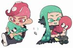 1boy 1girl :d animal aqua_eyes aqua_hair bike_shorts black_cape black_footwear blush boots cape chibi domino_mask fang headgear inkling kirikuchi_riku long_hair mask mohawk no_nose octarian octoling octopus open_mouth pink_eyes pink_hair shoes short_hair smile splatoon_(series) splatoon_2 splatoon_2:_octo_expansion squid squidbeak_splatoon suction_cups tentacle_hair torn_cape torn_clothes wristband