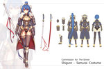 1girl armor bare_shoulders black_legwear blue_hair blush bracer breasts cleavage hair_ornament highres japanese_armor katana long_hair looking_at_viewer luzi navel original ponytail red_eyes solo sword very_long_hair weapon