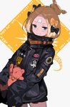 1girl abigail_williams_(fate/grand_order) alternate_hairstyle andrian_gilang bandaid_on_forehead bangs belt black_bow black_jacket blonde_hair blue_eyes bow caution_tape fate/grand_order fate_(series) forehead grin hair_bow hair_bun heroic_spirit_traveling_outfit high_collar highres holding holding_stuffed_animal jacket keep_out long_hair looking_at_viewer orange_bow parted_bangs polka_dot polka_dot_bow sleeves_past_fingers sleeves_past_wrists smile solo stuffed_animal stuffed_toy teddy_bear tentacles thighs white_background