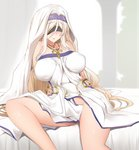 1girl bed_sheet blindfold blonde_hair blush breasts breasts_apart dress ginhaha goblin_slayer! groin highres jewelry large_breasts long_hair necklace no_panties on_bed paid_reward parted_lips patreon_reward pubic_hair sitting solo sword_maiden