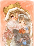 2girls blonde_hair blue_eyes blush breath closed_eyes coat couple eila_ilmatar_juutilainen finnish highres hood long_hair mittens multiple_girls one_eye_closed open_mouth purple_eyes russian ryou_(shirotsumesou) sanya_v_litvyak scarf shared_hoodie shared_scarf short_hair silver_hair smile strike_witches translated yuri