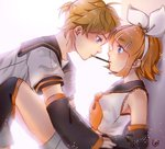 1boy 1girl backlighting blonde_hair blue_eyes blush bow brother_and_sister detached_sleeves eye_contact food food_in_mouth hair_ornament hairband hairclip incest kagamine_len kagamine_rin looking_at_another mouth_hold pocky pocky_day pocky_kiss sailor_collar shared_food short_hair shorts siblings sidelocks sie2r twincest twins vocaloid white_background white_bow