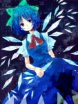 1girl blue_eyes blue_hair bow cirno dress hair_bow ice icicle neck_ribbon ribbon shiratsuyu short_hair solo touhou traditional_media wings