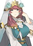 1girl absurdres blue_eyes breasts brown_hair dress earrings expressionless fire_emblem fire_emblem_heroes fur_trim gradient gunnthra_(fire_emblem) highres jewelry large_breasts long_hair looking_at_viewer ormille pink_hair simple_background solo veil white_background