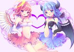 2girls angel angel_and_devil angel_wings aoi_rena bare_shoulders blue_eyes blue_hair blush bow braid breasts choker demon_girl demon_wings elbow_gloves gloves hair_bow heart horns large_breasts long_hair multiple_girls navel open_mouth original pink_hair purple_eyes wings