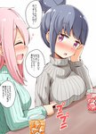 1koma 2girls :d aikawa_ryou aqua_sweater bangs blue_hair blush breast_poke breasts closed_eyes comic commentary_request couple cup drink drinking_glass drunk grey_sweater hair_bun highres ice ice_cube kagamihara_nadeshiko long_hair medium_breasts multiple_girls older open_mouth pink_hair poking profile purple_eyes shima_rin short_hair sidelocks simple_background smile speech_bubble sweater table translation_request turtleneck turtleneck_sweater upper_body white_background yuri yurucamp