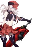 1girl alisa_ilinichina_amiella bare_shoulders black_footwear black_gloves blue_eyes boots breasts cabbie_hat closed_mouth commentary cowboy_shot elbow_gloves fingerless_gloves gloves god_eater hat highres holding holding_weapon huge_weapon long_hair midriff navel pantyhose plaid plaid_skirt pleated_skirt sanbabasanba shirt silver_hair skirt sleeveless sleeveless_shirt solo stomach suspender_skirt suspenders thigh_boots thighhighs underboob weapon