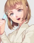 1girl :d bangs blue_eyes bob_cut brown_hair energy_sword eyelashes fangs genderswap genderswap_(mtf) grey_background holding holding_weapon katsuoboshi lightsaber long_sleeves looking_at_viewer mole mole_under_eye obi-wan_kenobi open_mouth short_hair simple_background sketch smile solo star_wars sword upper_body weapon