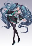 1girl absurdres aqua_eyes aqua_hair armpits bare_shoulders blue_eyes detached_sleeves floating_hair green_hair hatsune_miku highres lm7_(op-center) long_hair looking_at_viewer necktie outstretched_hand skirt sleeveless solo standing thighhighs twintails very_long_hair vocaloid wide_sleeves