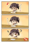 1girl 3koma ? absurdres blush brown brown_eyes closed_eyes comic commentary_request food heart highres japanese_clothes kaga_(kantai_collection) kantai_collection long_hair musical_note plate pudding side_ponytail simple_background smile spoon taisa_(kari) tasuki translated