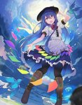 1girl :d arm_up bangs bird black_headwear black_legwear blouse blue_hair blue_skirt blue_sky boots bow bowtie breasts brown_footwear center_frills cloud commentary_request eyebrows_visible_through_hair food fruit hair_between_eyes hand_on_headwear highres hinanawi_tenshi keystone knee_boots leaf long_hair looking_at_viewer medium_breasts open_mouth outdoors peach puffy_short_sleeves puffy_sleeves red_bow red_eyes red_neckwear rin_falcon rope shide shimenawa short_sleeves skirt sky smile solo thighhighs touhou very_long_hair white_blouse