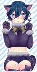 1girl alternate_costume animal_costume animal_ears boots bow breasts cat_costume cat_ears cat_tail elbow_gloves fangs gloves heart large_breasts midriff navel open_mouth paw_print persona persona_4 ribbon shinocco shirogane_naoto short_hair shorts sitting solo tail thigh_boots thighhighs