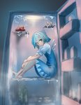 1girl barefoot blue_bow blue_dress blue_eyes blue_hair blush boned_meat bottle bow cirno commentary_request dress eyebrows_visible_through_hair fog food full_body hair_between_eyes hair_bow ice ice_wings in_container in_refrigerator knees_up looking_at_viewer meat puffy_short_sleeves puffy_sleeves refrigerator roke_(taikodon) short_hair short_sleeves sitting sketch smile solo touhou wings