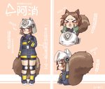 1girl >_< animal_ears animal_ears_helmet arknights black_gloves blush brown_eyes brown_hair commentary_request fire_helmet fire_jacket firefighter gloves green_gloves hands_on_another's_cheeks hands_on_another's_face headwear_removed helmet helmet_removed highres large_tail looking_at_viewer looking_back miji_doujing_daile shaw_(arknights) solo_focus squirrel_tail tail translation_request