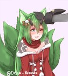 1girl :3 :d animal_ears bare_shoulders black_gloves blue_eyes bow breasts christmas cleavage commentary commission disco_brando dress english_commentary fang fox_ears fox_tail gloves green_hair hair_between_eyes hair_bow highres horns kitsune long_hair multiple_tails open_mouth petting phantasy_star phantasy_star_online_2 pink_background pom_pom_(clothes) red_dress red_scarf scarf simple_background smile solo_focus tail twitter_username