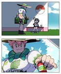 2boys 2koma avengers:_endgame bag bench black_hair boots comic commentary duffel_bag dumbbell freckles gym_leader hat looking_at_another male_focus mask multiple_boys muscle onion_(pokemon) parody poke_ball poke_ball_symbol pokemon pokemon_(game) pokemon_swsh scarf shade sitting smile sportswear thick_eyebrows wootsang yarrow_(pokemon)
