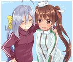 2girls ^_^ adapted_costume ahoge arm_around_shoulder blue_background brown_hair closed_eyes commentary_request flying_sweatdrops grin hair_between_eyes hair_ribbon hand_on_hip jacket jpeg_artifacts kantai_collection kiyoshimo_(kantai_collection) libeccio_(kantai_collection) maruki_(punchiki) multiple_girls open_mouth ribbon silver_hair simple_background smile tan track_jacket twintails twitter_username wavy_mouth