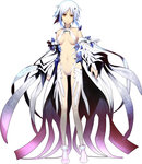 1girl bare_shoulders blue_hair breasts brown_eyes carol_(guilty_crown) center_opening chuuou_higashiguchi detached_sleeves guilty_crown guilty_crown_lost_christmas highres medium_breasts navel parted_lips revealing_clothes short_hair simple_background solo white_background