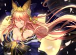1girl animal_ears azaka_(rionrita) bell blue_ribbon breasts cleavage closed_eyes collarbone fate/extra fate/grand_order fate_(series) fox_ears fox_tail hair_ribbon japanese_clothes jingle_bell large_breasts moon multiple_tails off_shoulder petals pink_hair ribbon solo tail tamamo_(fate)_(all) tears