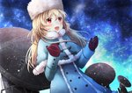 1girl bangs blonde_hair blue_capelet blue_coat blue_moment blue_sky capelet coat dutch_angle eyebrows_visible_through_hair floating_hair gloves hair_between_eyes hat long_hair mittens original outdoors radio_telescope red_eyes red_gloves sky solo standing star_(sky) starry_sky white_hat winter_clothes winter_coat