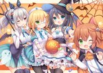 4girls :d :o ;3 ;d ;p absurdres animal_ear_headphones animal_ears ann_(krt_girls) apron armband artist_request ascot bandages bangs bare_shoulders bat bat_wings black_hair black_legwear blonde_hair blue_dress blue_eyes blue_flower blue_neckwear blue_rose blue_skirt blush bow breasts candy cape cat_ears center_frills claw_pose collarbone collared_shirt commentary_request corset cowboy_shot detached_collar dress elbow_gloves emilia_(krt_girls) eyebrows_visible_through_hair eyepatch fangs finger_to_tongue flower food frilled_apron frilled_gloves frills garter_straps ghost gloves green_eyes hair_ornament hair_ribbon hairclip halloween hat headphones headset highres holding krt_girls large_breasts lollipop long_hair long_sleeves looking_at_viewer low_twintails medical_eyepatch multiple_girls nana_(krt_girls) necktie nut_(hardware) nut_hair_ornament one_eye_closed one_side_up open_mouth orange_background orange_hair orange_neckwear outside_border outstretched_arm pantyhose parted_lips pocket polearm ponytail puffy_short_sleeves puffy_sleeves red_eyes ribbon rose shirt short_hair short_sleeves sidelocks silk silver_hair skirt skull skull_hair_ornament sleeveless sleeveless_shirt small_breasts smile spider_web standing star striped_neckwear suspenders swirl_lollipop thighhighs tongue tongue_out trident twintails v-shaped_eyebrows waist_apron weapon white_apron white_shirt wing_collar wings witch_hat x_hair_ornament xiao_qiong zettai_ryouiki