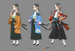 1girl copyright_name dango dual_wielding eating floral_print flower food grey_background grey_eyes grey_hair hair_flower hair_ornament hakama holding holding_sword holding_weapon japanese_clothes katana long_hair looking_at_viewer multiple_views official_art open_mouth ponytail qurare_magic_library sandals sheath sheathed sidelocks sword wagashi weapon white_legwear zzinp