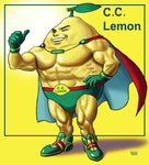 1boy c.c._lemon c.c._lemon_(character) cape character_name food fruit gloves lemon male manly matataku muscle one_eye_closed personification shoes signature smile sneakers solo thumbs_up yellow