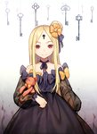 1girl abigail_williams_(fate/grand_order) bangs black_bow black_dress blonde_hair blush bow commentary_request cowboy_shot dress fate/grand_order fate_(series) hair_bow highres key keyhole long_hair long_sleeves looking_at_viewer multiple_bows orange_bow parted_bangs polka_dot polka_dot_bow purple_bow red_eyes solo stuffed_animal stuffed_toy tarantulaines teddy_bear very_long_hair