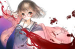 1girl ahoge bandages black_ribbon blood bow brown_eyes brown_hair buttons closed_mouth coat collarbone expressionless glasses head_tilt hemokinesis kuriyama_mirai kyoukai_no_kanata long_sleeves looking_at_viewer mins_(minevi) open_clothes open_coat outstretched_arm pink_coat pocket red-framed_eyewear ribbon sailor_collar school_uniform serafuku short_hair simple_background solo unbuttoned upper_body white_background