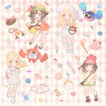 4girls argyle argyle_background arm_up backpack bag bare_shoulders beanie beast_ball bell black_hair blonde_hair blue_eyes blush blush_stickers book bracelet braid brown_hair candy cd clefairy closed_eyes collarbone cosmog crystal doll dress dual_persona duffel_bag eyebrows_visible_through_hair floral_print flower flute food french_braid full_body gen_4_pokemon gen_7_pokemon green_eyes green_shorts hand_up happy hat hat_flower heart highres holding holding_poke_ball instrument jewelry jingle_bell kneehighs leg_up lillie_(pokemon) long_hair looking_at_viewer looking_down malasada mizuki_(pokemon) multiple_girls necklace one_eye_closed open_book open_mouth orange_shirt outstretched_arms pencil pink_background pink_flower pleated_skirt poke_ball poke_ball_(generic) poke_ball_theme pokemon pokemon_(creature) pokemon_(game) pokemon_sm pokemon_usum ponytail pouch pyukumuku red_footwear red_hat rotom rotom_dex see-through shiny shiny_hair shirt shoes short_hair short_shorts short_sleeves shorts simple_background skirt sleeveless sleeveless_dress sleeveless_shirt smile spaghetti_strap sparkle standing standing_on_one_leg sun_hat tied_shirt twin_braids white_dress white_footwear white_hat white_legwear white_shirt white_shorts white_skirt yellow_shirt zuizi