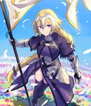 1girl armor armored_dress blonde_hair braid capelet fate/apocrypha fate/grand_order fate_(series) faulds flag gauntlets headpiece jeanne_d'arc_(fate) jeanne_d'arc_(fate)_(all) long_braid long_hair menma222 plackart purple_eyes single_braid smile solo standard_bearer thighhighs very_long_hair