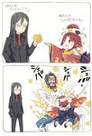 1girl 2boys 2koma :d back_bow bangs beard benienma_(fate/grand_order) black_footwear black_jacket black_pants black_shirt blood blood_from_mouth blue_bow blue_pants blush bow brown_eyes brown_hair brown_headwear brown_kimono closed_eyes closed_mouth collarbone collared_shirt comic commentary_request crying edward_teach_(fate/grand_order) eyebrows_visible_through_hair facial_hair fate_(series) finger_gun formal glasses gomennasai hair_between_eyes hands_in_pockets hat holding holding_star holding_sword holding_weapon jacket japanese_clothes katana kimono long_hair long_sleeves lord_el-melloi_ii lord_el-melloi_ii_case_files low_ponytail multiple_boys mustache necktie object_hug open_mouth outstretched_arm pants parted_bangs platform_footwear ponytail red_neckwear round_teeth shirt short_sleeves skull_print slashing smile socks star streaming_tears suit sword tears teeth translation_request upper_teeth very_long_hair waver_velvet weapon white_legwear white_shirt wide_sleeves zouri