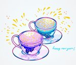 artist_name cloud commentary constellation cup english_text happy_new_year highres liquid meyoco new_year no_humans original plate simple_background sparkle white_background