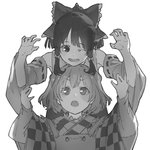 2girls :o ;d apron bangs bow checkered detached_sleeves greyscale hair_bow hair_tubes hakurei_reimu head_rest japanese_clothes kimono leaning_over long_sleeves monochrome motoori_kosuzu multiple_girls one_eye_closed open_mouth pisoshi short_hair smile touhou two_side_up