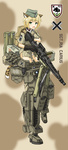 1girl animal_ears backpack bad_id bad_pixiv_id bag blonde_hair character_name character_portrait commentary dakku_(ogitsune) emblem fang full_body gloves gpmg green_eyes gun hat karlsland leopard_2_(personification) leopard_ears leopard_tail machine_gun magazine_(weapon) mecha_musume mg3 mg42 military military_uniform open_mouth rocket_launcher scope short_hair solo standing strike_witches_1991 striker_unit tail uniform weapon world_witches_series