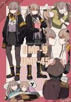 1boy 2girls =3 absurdres bangs blush boots breasts brown_eyes brown_hair character_name clenched_teeth closed_eyes commander_(girls_frontline) commentary drooling eyebrows_visible_through_hair fingerless_gloves garin girls_frontline glaring gloves hair_ornament hairclip highres jacket long_hair looking_at_viewer multiple_girls multiple_views open_mouth pantyhose pout ribbon scar scar_across_eye shirt siblings sisters skirt sleeping smile teeth twins twintails ump45_(girls_frontline) ump9_(girls_frontline)