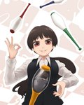 1boy 1girl black_vest breasts collared_shirt commentary_request eyebrows_visible_through_hair hand_up juggling juggling_club long_hair long_sleeves ok_sign original otedama parted_lips ponytail red_eyes shirt smile solo_focus symbolism vest white_shirt wing_collar yajirushi_(chanoma)